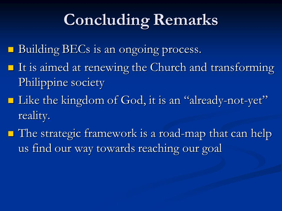 Concluding Remarks Building BECs is an ongoing process.