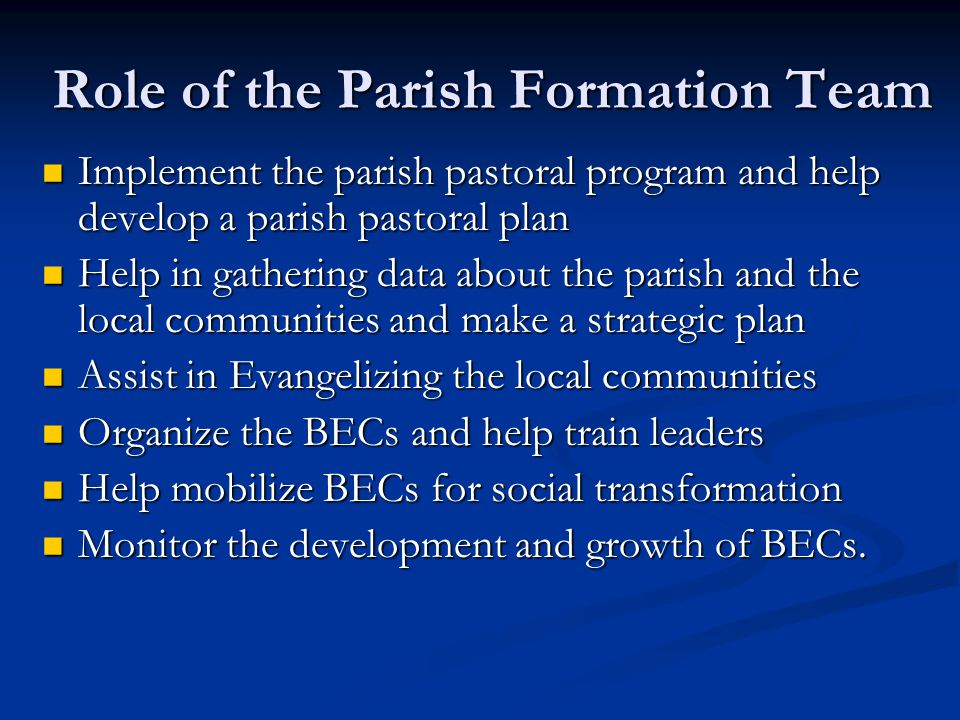 Role of the Parish Formation Team