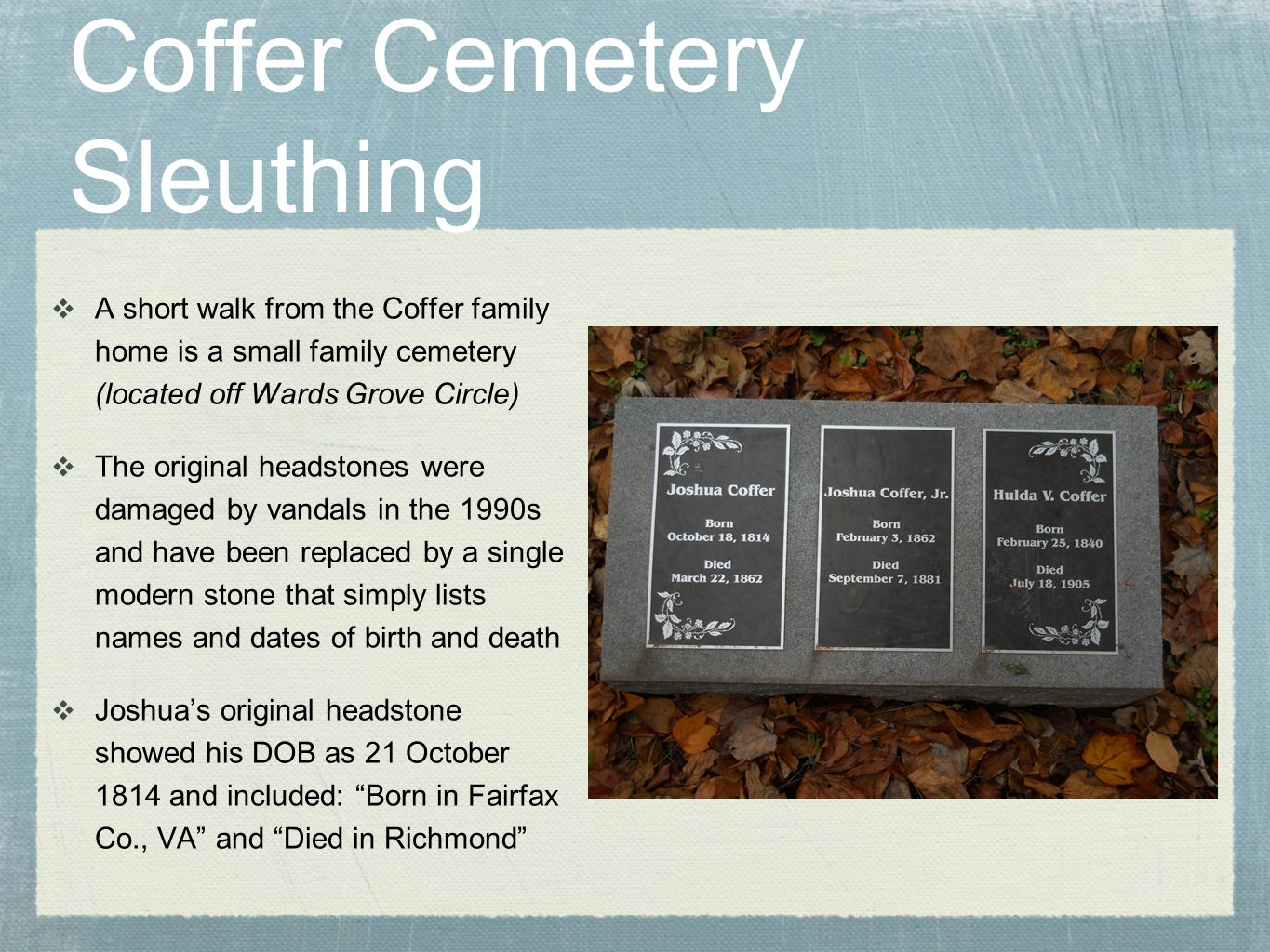 Coffer Cemetery Sleuthing