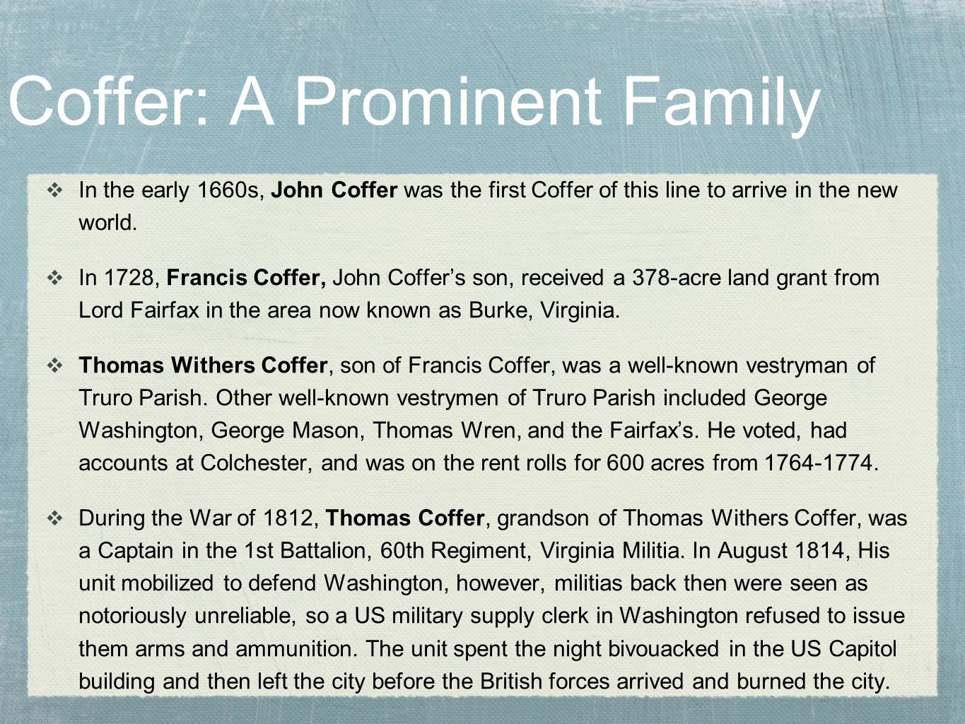 Coffer: A Prominent Family