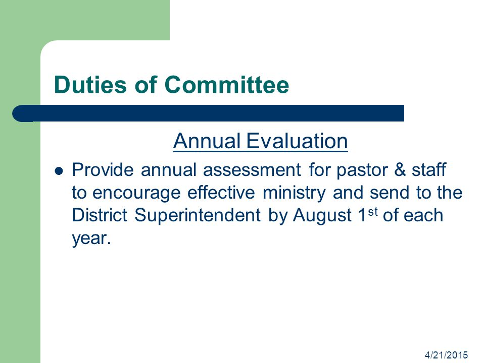 Duties of Committee Annual Evaluation