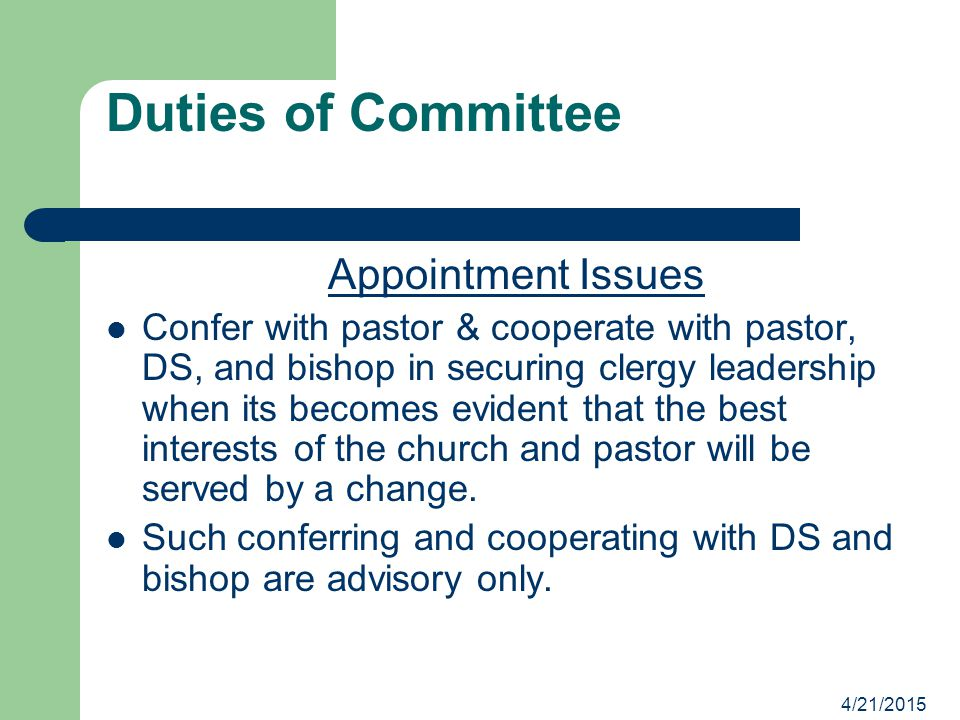 Duties of Committee Appointment Issues
