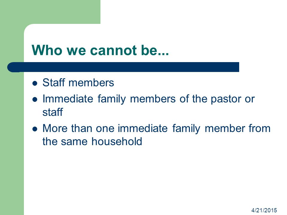 Who we cannot be... Staff members