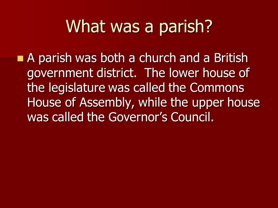 What was a parish