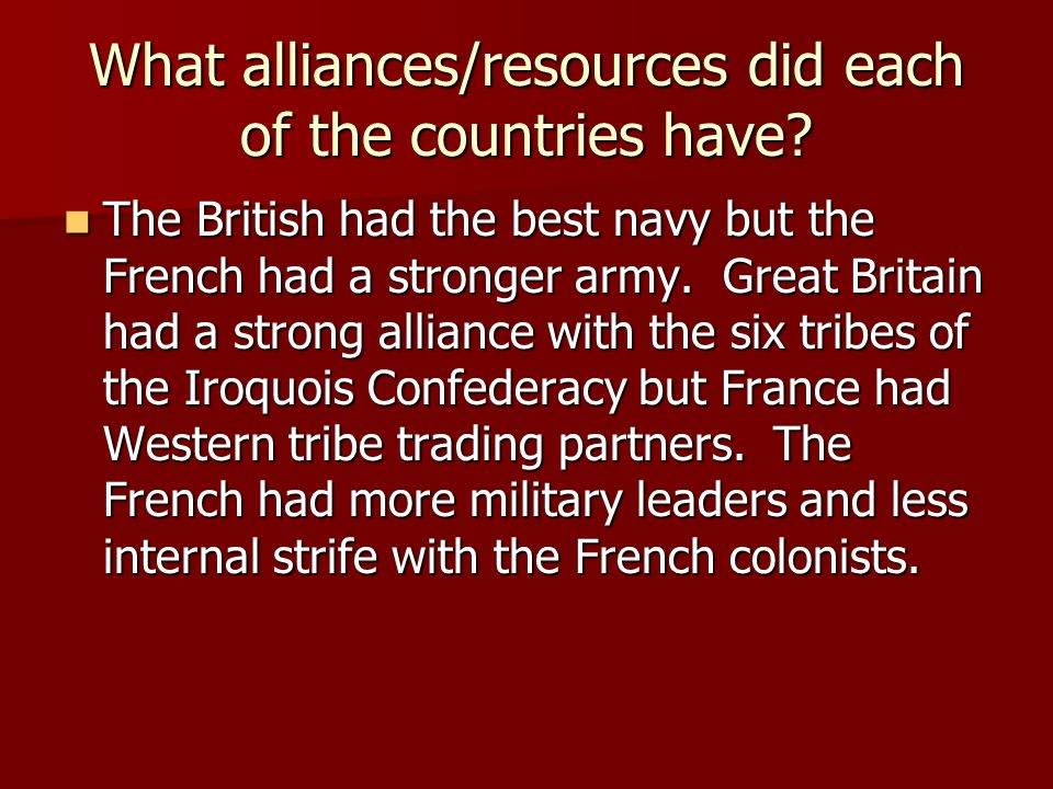 What alliances/resources did each of the countries have