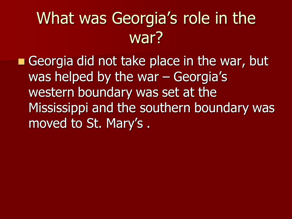 What was Georgia's role in the war