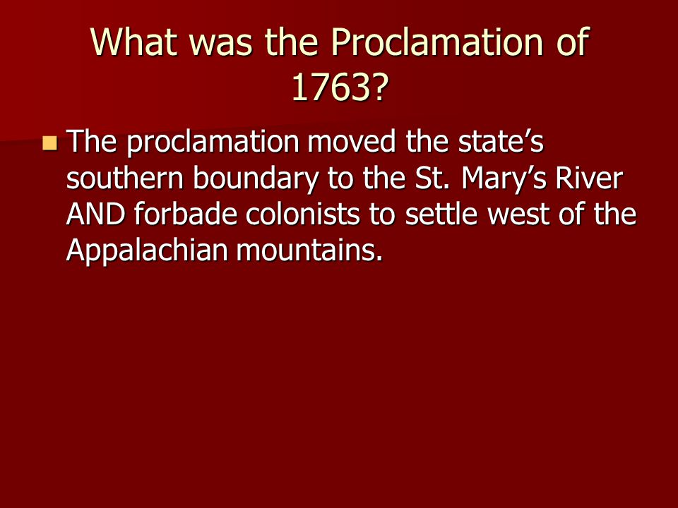 What was the Proclamation of 1763