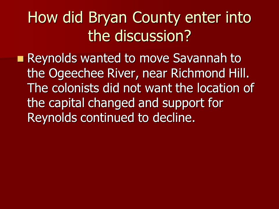 How did Bryan County enter into the discussion