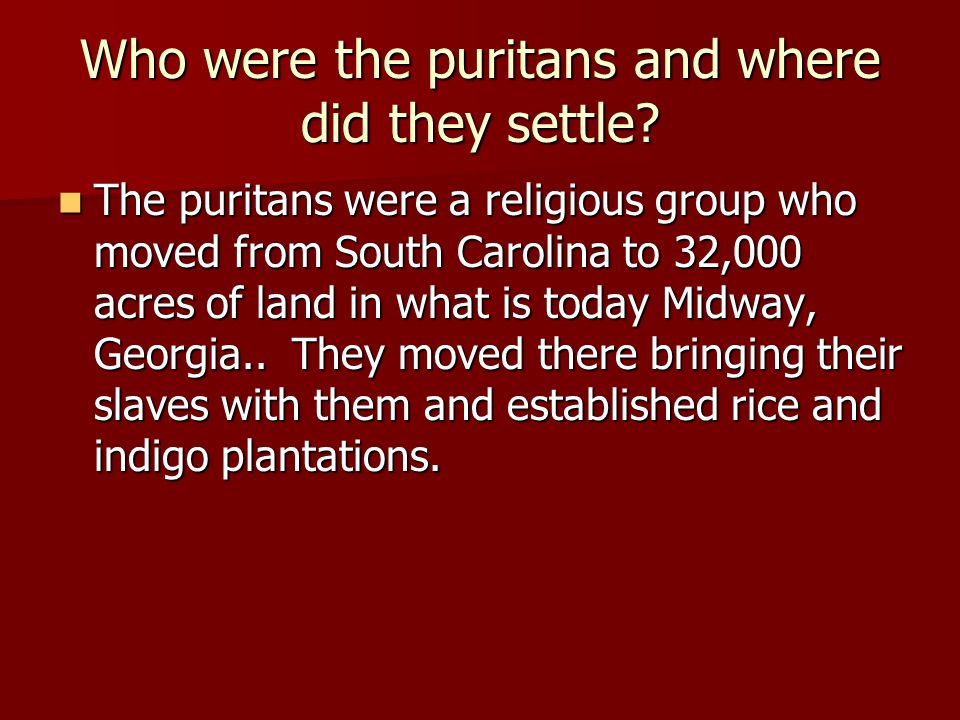 Who were the puritans and where did they settle