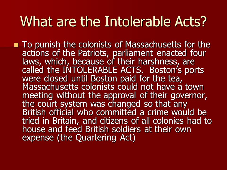 What are the Intolerable Acts