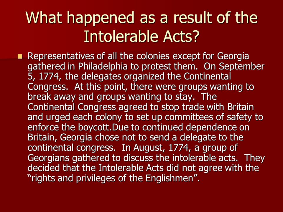 What happened as a result of the Intolerable Acts