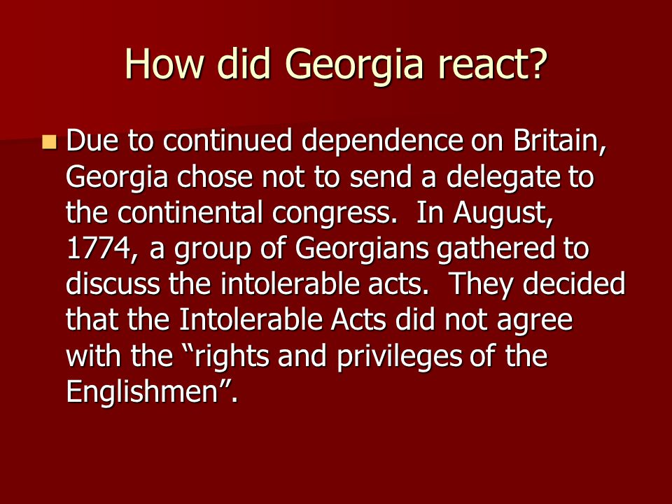 How did Georgia react