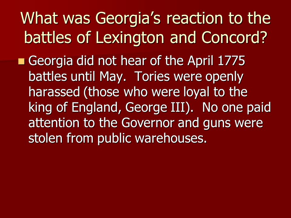 What was Georgia's reaction to the battles of Lexington and Concord