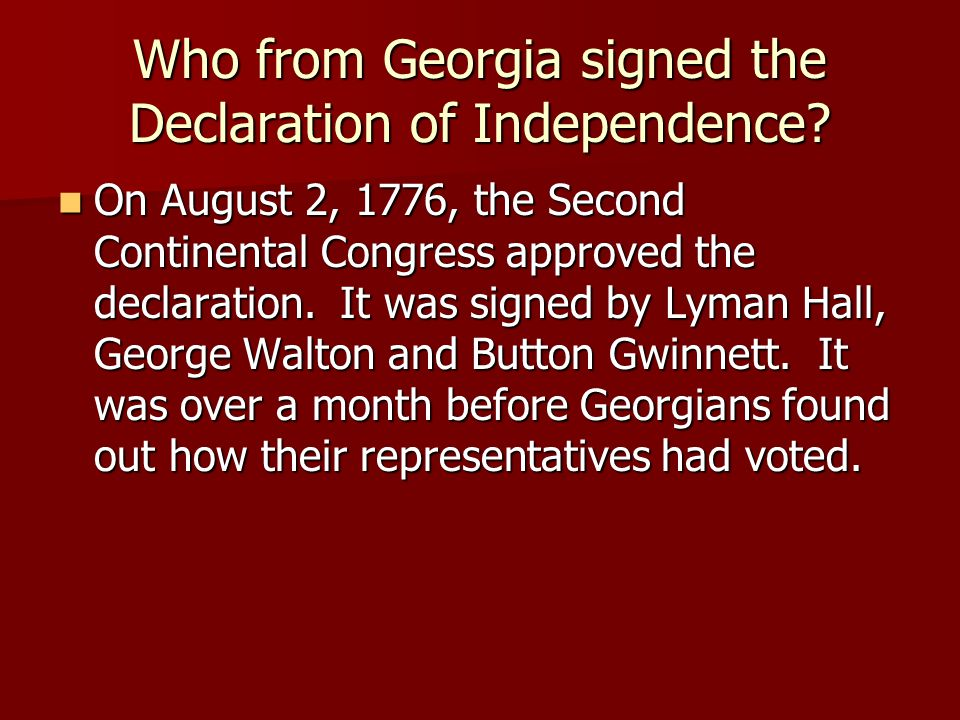 Who from Georgia signed the Declaration of Independence