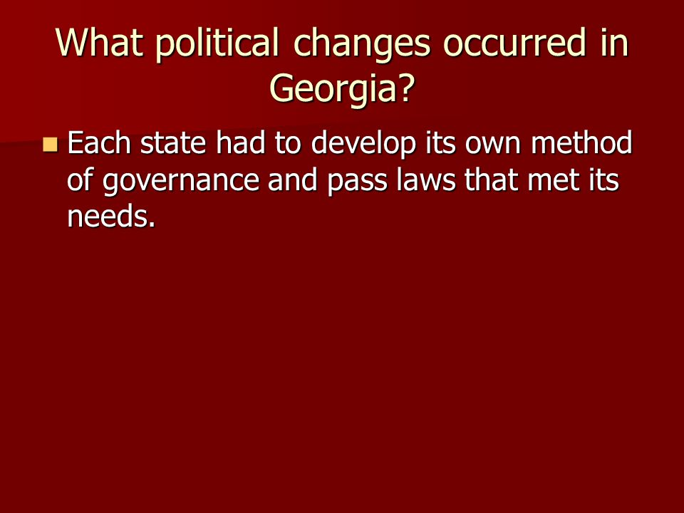 What political changes occurred in Georgia