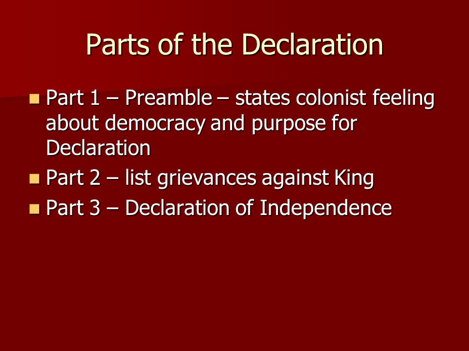 Parts of the Declaration