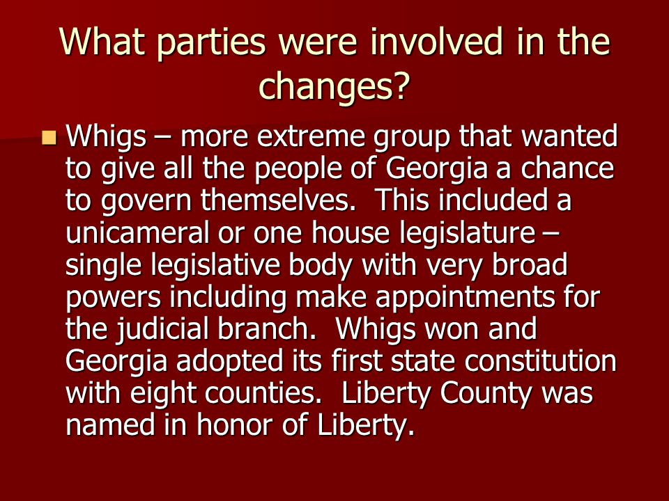 What parties were involved in the changes