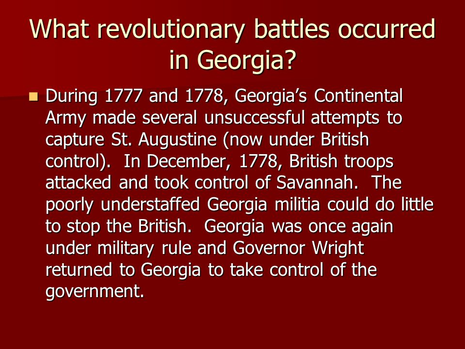 What revolutionary battles occurred in Georgia