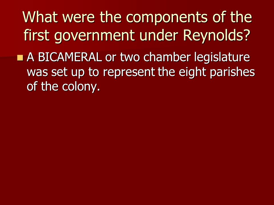 What were the components of the first government under Reynolds