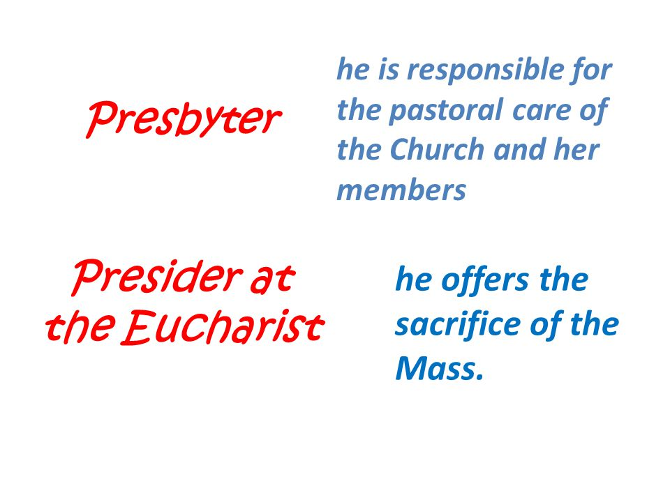 Presider at the Eucharist