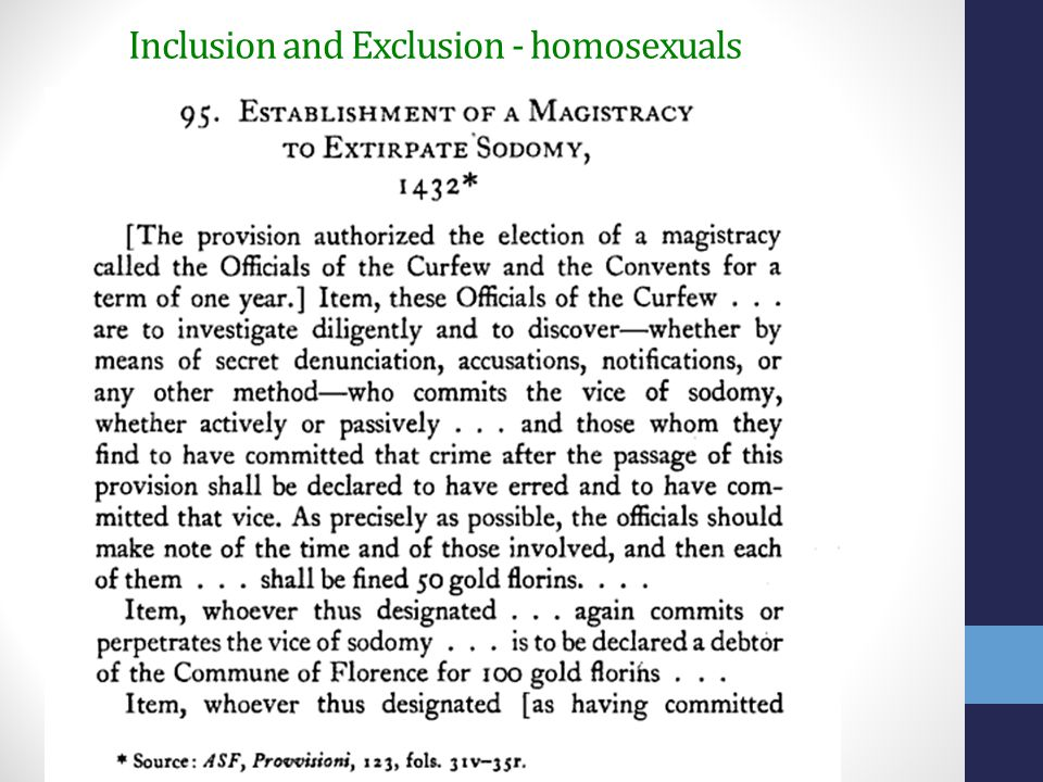 Inclusion and Exclusion - homosexuals