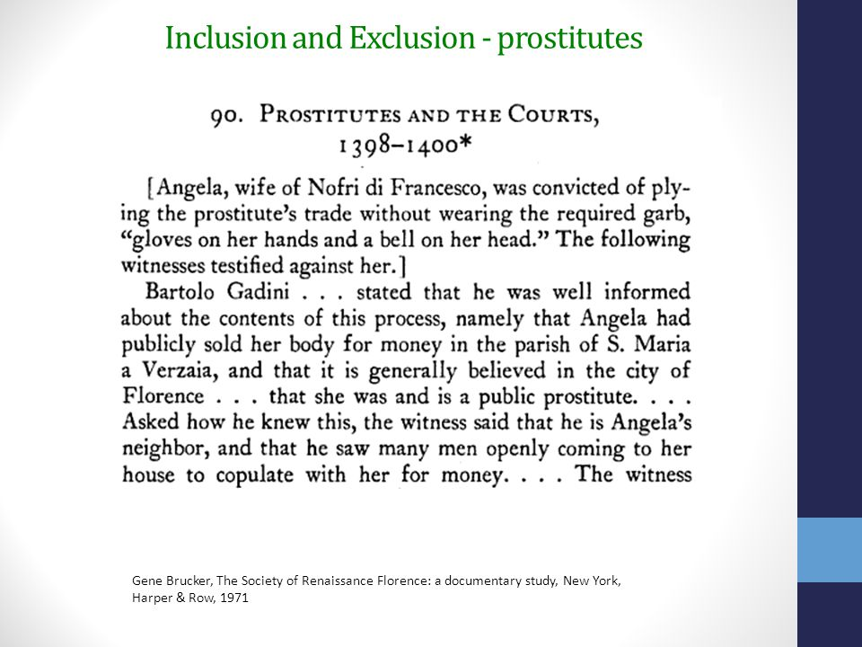 Inclusion and Exclusion - prostitutes