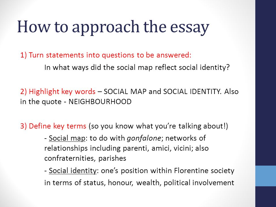 identity essay thesis Identity essay everyone has something that defines who they are by the exclusive things they do there are a wide variety of activities and hobbies that surround.