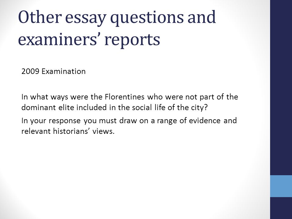 Other essay questions and examiners' reports
