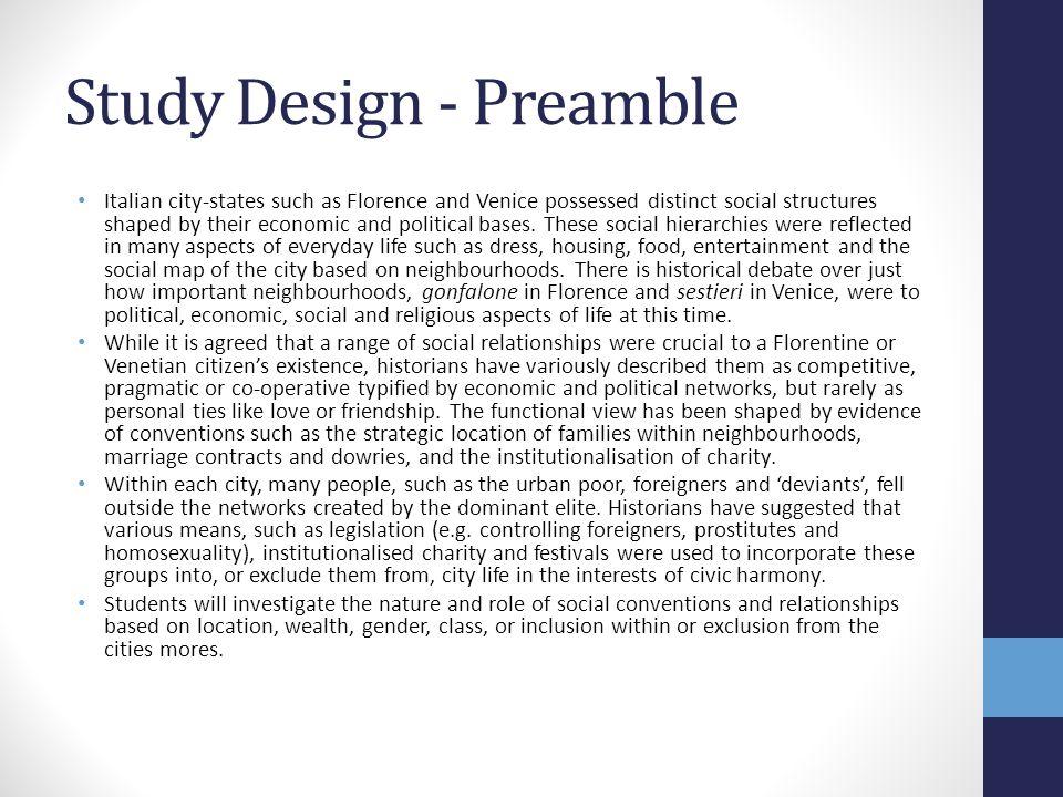 Study Design - Preamble