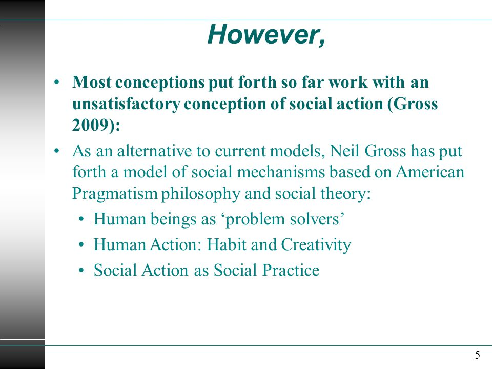 However, Most conceptions put forth so far work with an unsatisfactory conception of social action (Gross 2009):