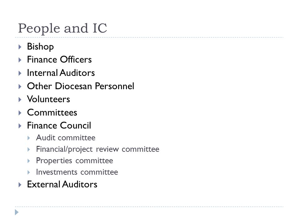 People and IC Bishop Finance Officers Internal Auditors
