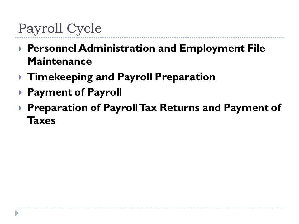 Payroll Cycle Personnel Administration and Employment File Maintenance
