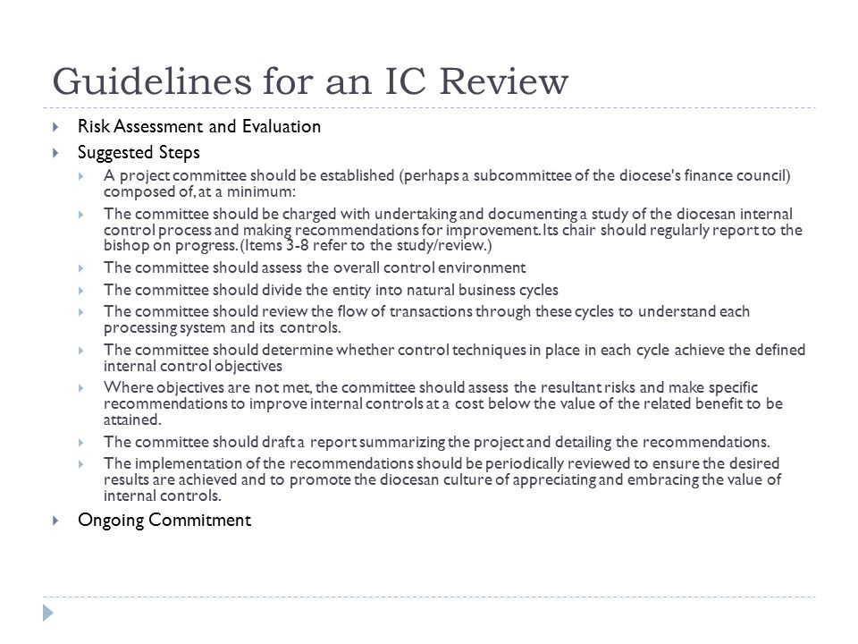Guidelines for an IC Review