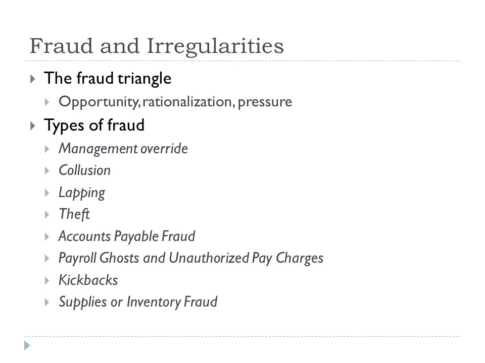 Fraud and Irregularities