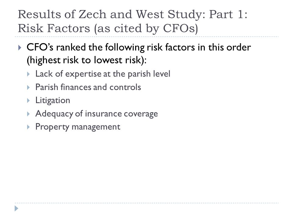 Results of Zech and West Study: Part 1: Risk Factors (as cited by CFOs)