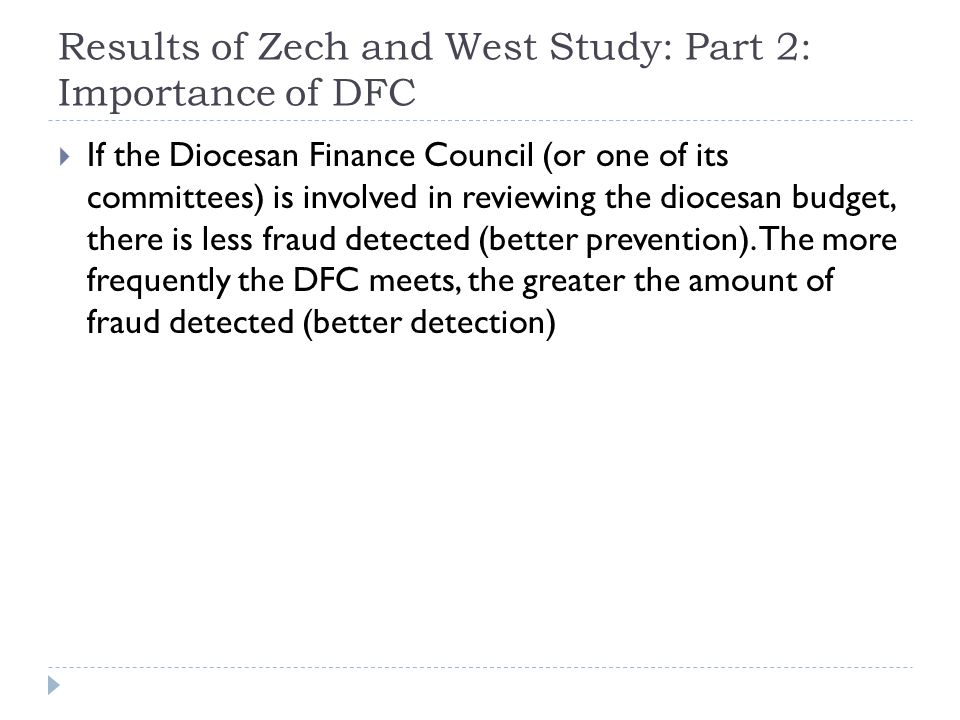 Results of Zech and West Study: Part 2: Importance of DFC