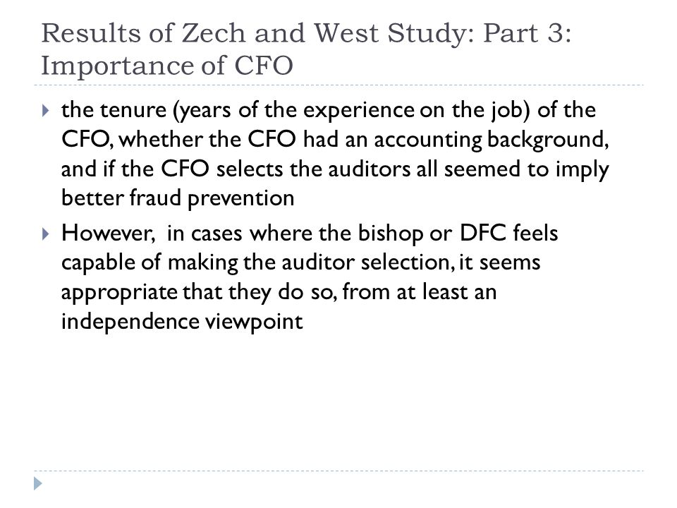 Results of Zech and West Study: Part 3: Importance of CFO