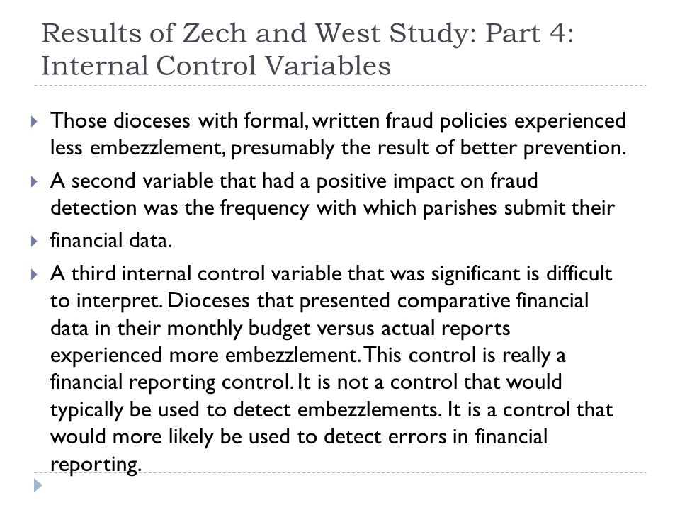 Results of Zech and West Study: Part 4: Internal Control Variables