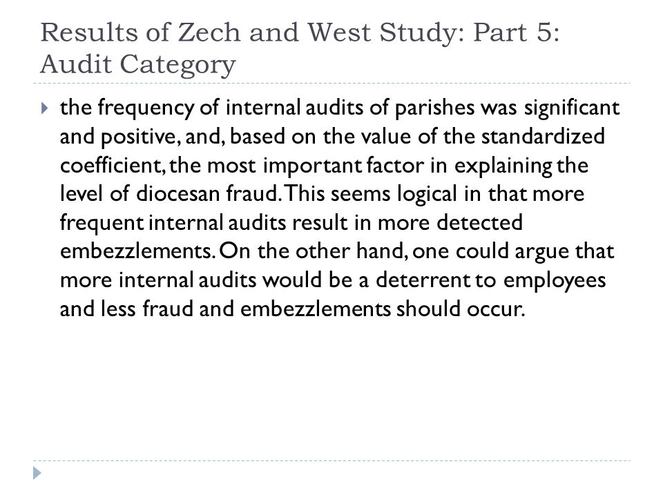 Results of Zech and West Study: Part 5: Audit Category
