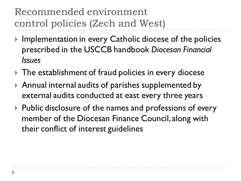 Recommended environment control policies (Zech and West)