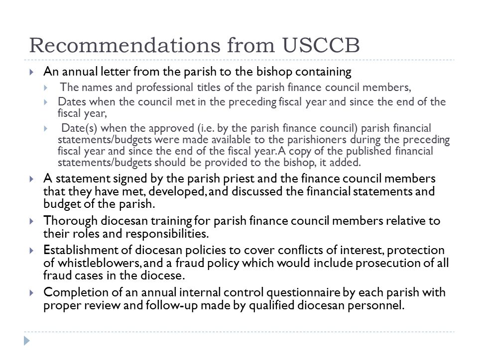 Recommendations from USCCB