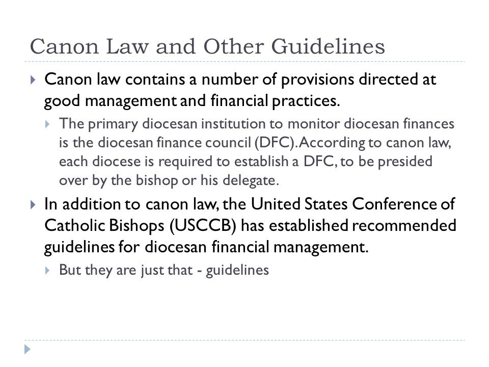 Canon Law and Other Guidelines