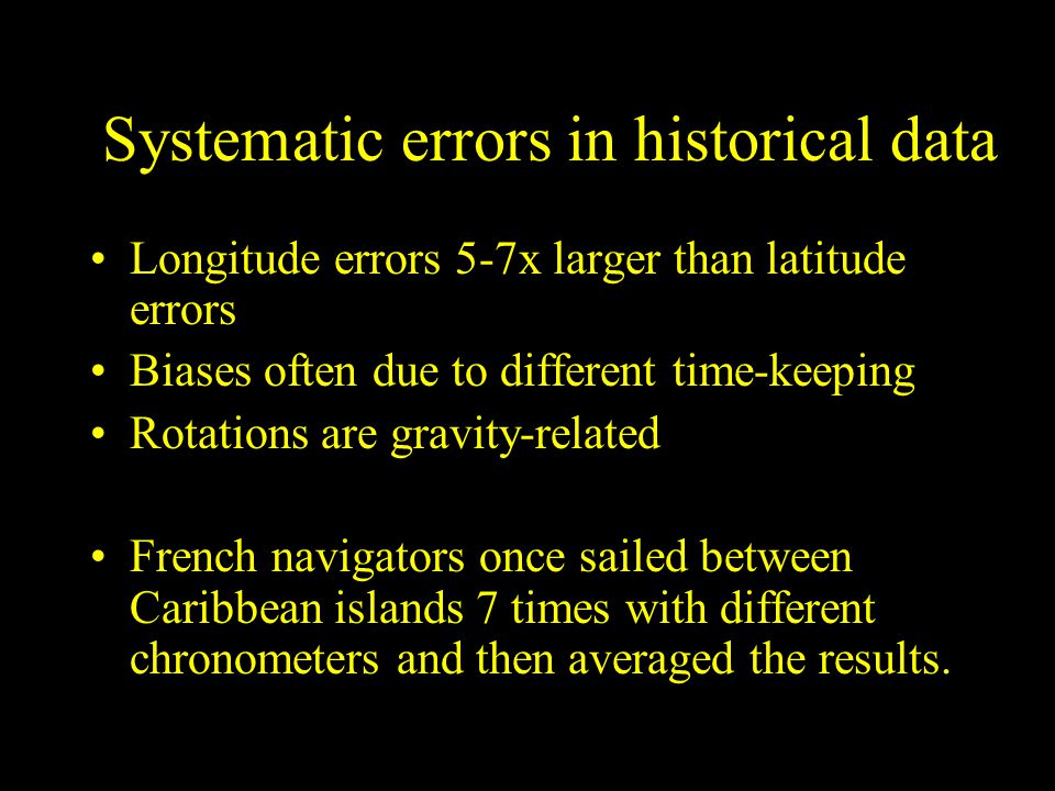 Systematic errors in historical data
