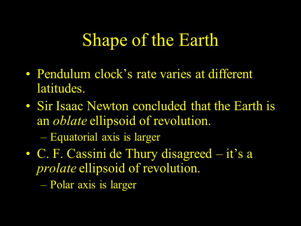 Shape of the Earth Pendulum clock's rate varies at different latitudes.