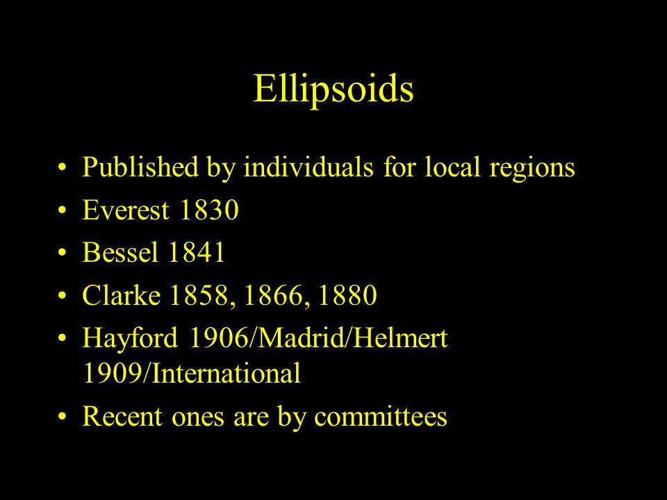 Ellipsoids Published by individuals for local regions Everest 1830