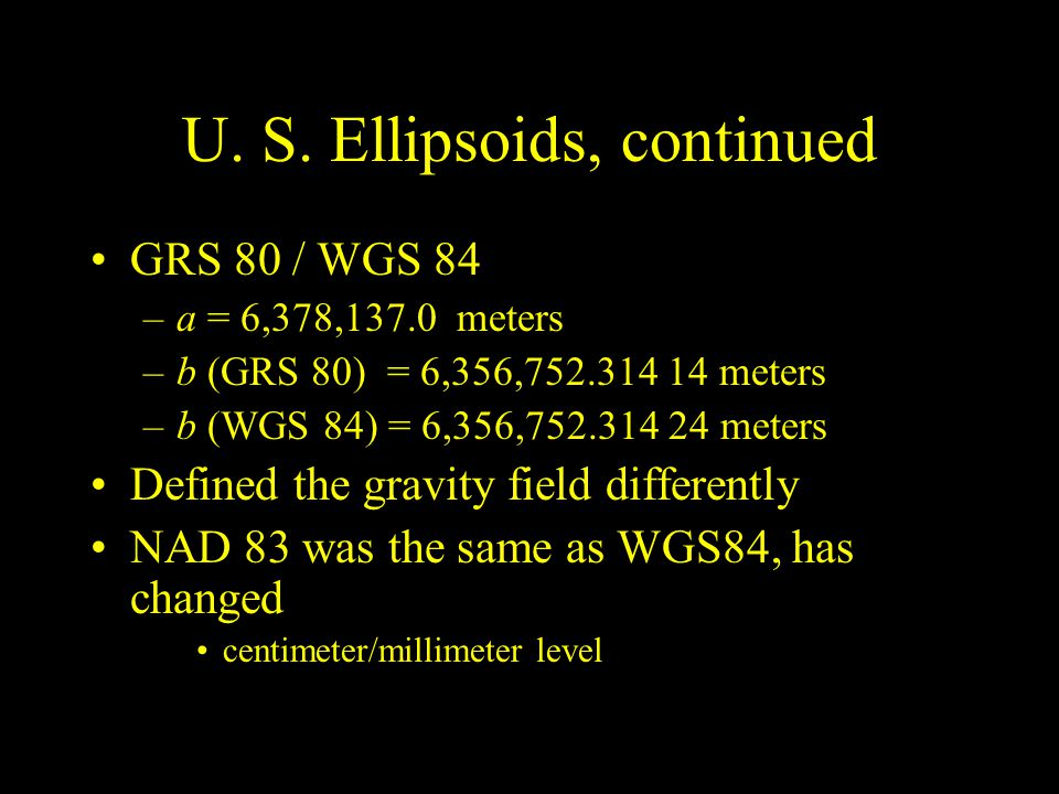 U. S. Ellipsoids, continued
