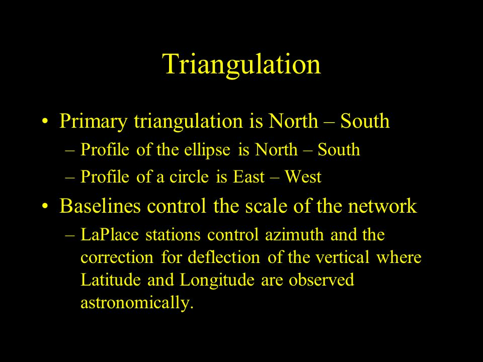 Triangulation Primary triangulation is North – South