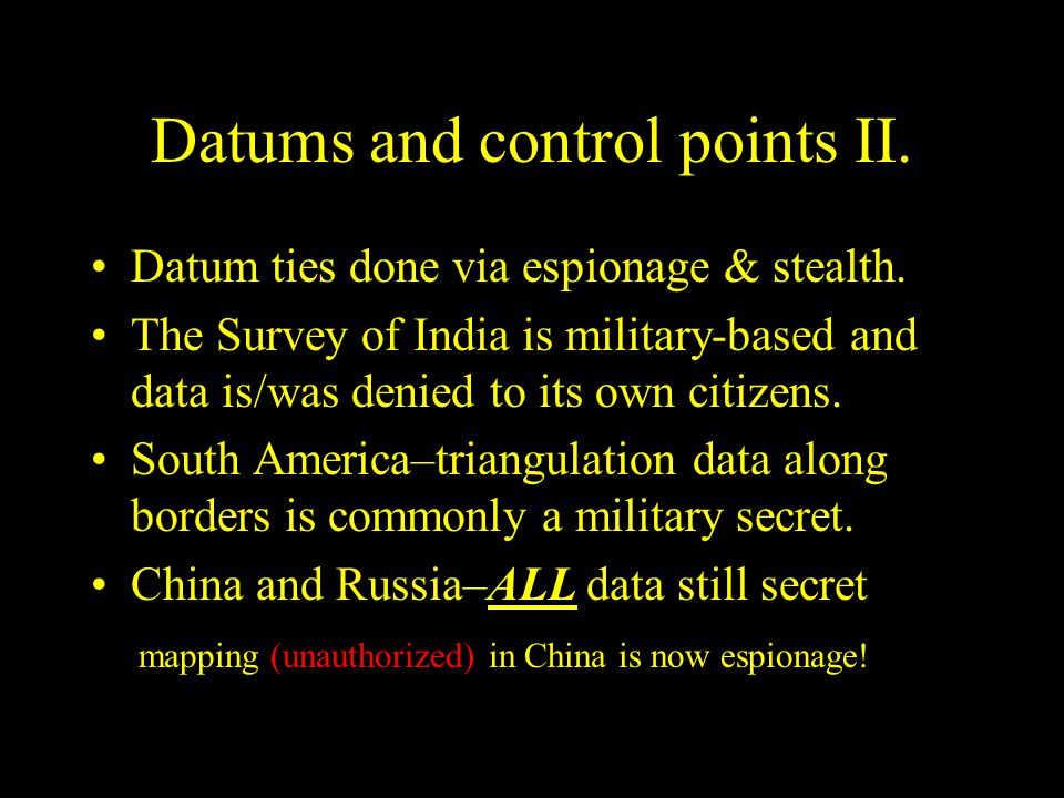 Datums and control points II.