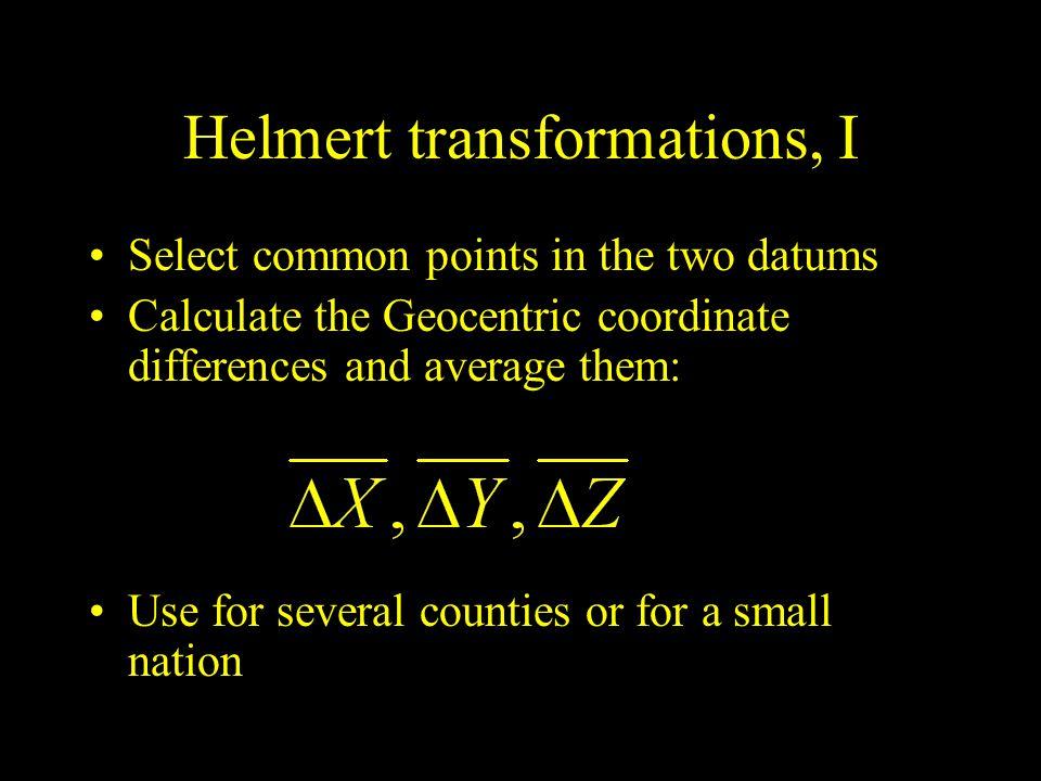 Helmert transformations, I