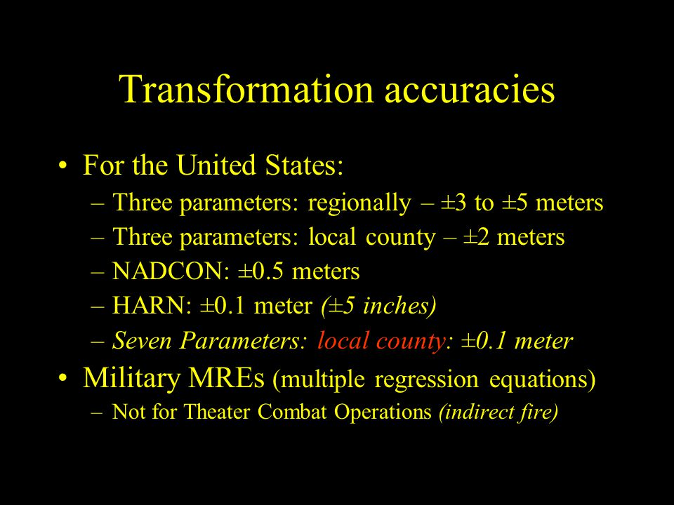 Transformation accuracies